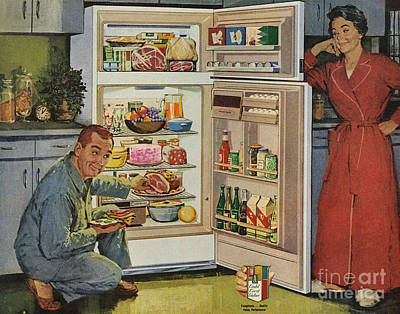 50s Drawing - Western Auto 1950s Usa Fridges Freezers by The Advertising Archives