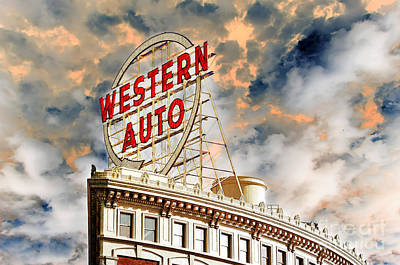 Photograph - Western Auto Sign Downtown Kansas City 2 by Andee Design