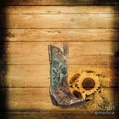 Western Country Barn Wood Cowboy Boots Sunflower Art Art Print