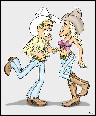 Wall Art - Digital Art - Western Dancers by Bill Proctor