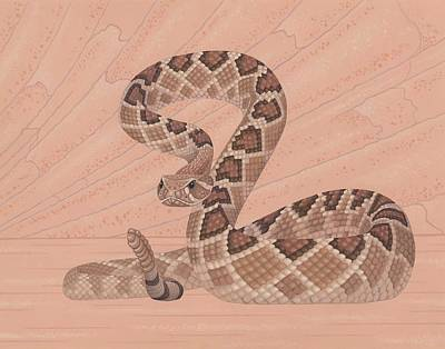 Brown Snake Painting - Western Diamondback Rattlesnake by Nathan Marcy