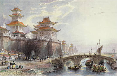 Chinese Architecture Drawing - Western Gate Of Peking, C.1850 by Thomas Allom