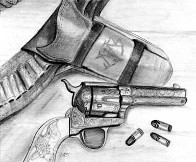 Art Print featuring the drawing Western Guns by Michele Engling