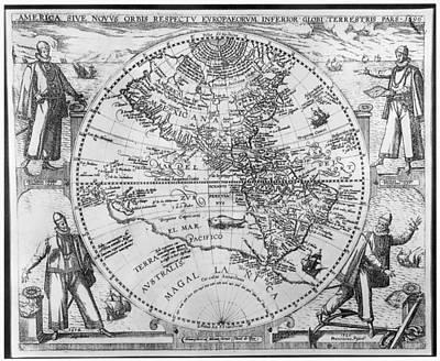 1596 Painting - Western Hemisphere, 1596 by Granger