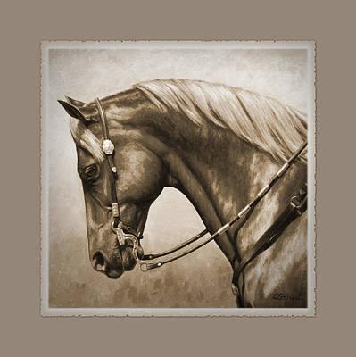 Sorrel Horse Painting - Western Horse Aged Photo Fx Sepia Pillow by Crista Forest