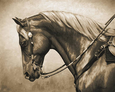 Watercolor Typographic Countries - Western Horse Painting In Sepia by Crista Forest