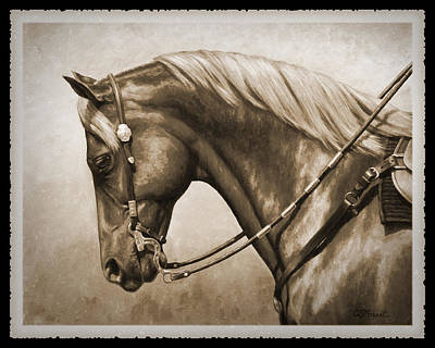 Quarter Horse Painting - Western Horse Old Photo Fx by Crista Forest