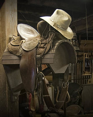 Cowboy Hat Photograph - Western Horse Saddle And Cowboy Hat by Randall Nyhof