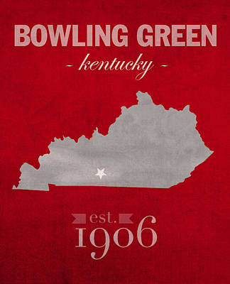 Kentucky Mixed Media - Western Kentucky University Hilltoppers Bowling Green Ky College Town State Map Poster Series No 125 by Design Turnpike