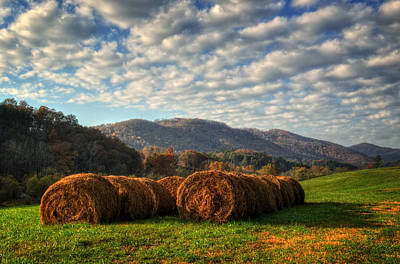 White Photograph - Western North Carolina Hay Field by Greg and Chrystal Mimbs