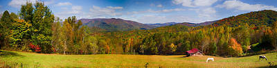 Painting - Western North Carolina Horses And Mountains Panorama by John Haldane