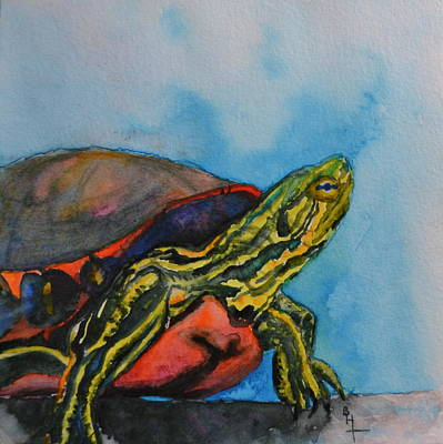 Basking Painting - Western Painted Turtle Of Colorado by Beverley Harper Tinsley