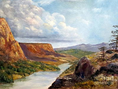 Cliff Lee Painting - Western River Canyon by Lee Piper