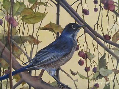 Painting - Western Robin by Karen Olson