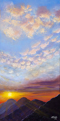 Art Print featuring the painting Western Sunset by Margaret Bobb