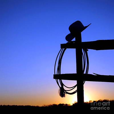 Cowboy Hat Photograph - Western Sunset by Olivier Le Queinec