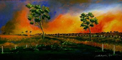 Sun Rays Painting - Western Sunset by Sandra Sengstock-Miller