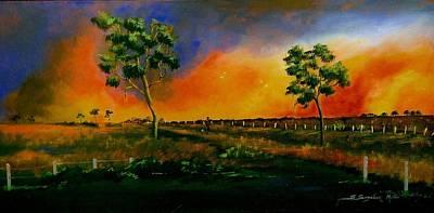 Western Sunset Art Print by Sandra Sengstock-Miller