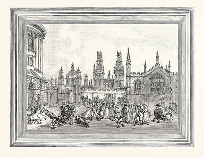 Outlook Drawing - Western View Of All Souls College Oxford Oxford University by English School