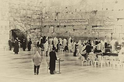 Photograph - Western Wall Jerusalem Antiqued by Mark Fuller
