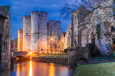 River Stour Photograph - Westgate Towers At Night by Ian Hufton
