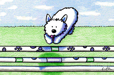 White Terrier Mixed Media - Westie Agility by Kim Niles