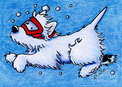 Dog Painting - Westie Diver by Kim Niles