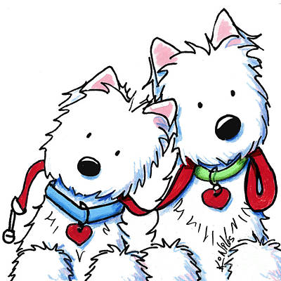 White Terrier Drawing - Westie Dog Park Duo by Kim Niles
