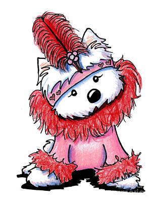 Girl And Dog Drawing - Westie Flapper Valentine by Kim Niles