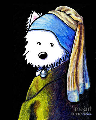 West Highland Terrier Drawing - Westie Girl With Pearl Earring by Kim Niles