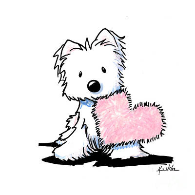 White Terrier Drawing - Westie Heart And Soul by Kim Niles