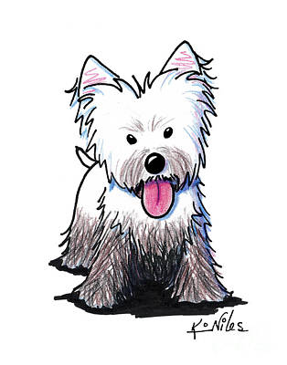 Naughty Dog Drawing - Westie Muddy Westie by Kim Niles