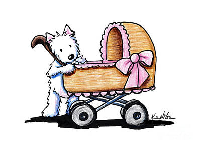 Kiniart Drawing - Westie Terrier Babysitter by Kim Niles