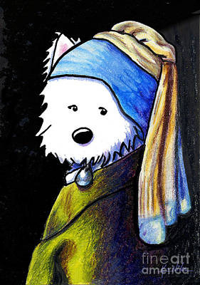 White Terrier Drawing - Westie With Pearl Earring by Kim Niles