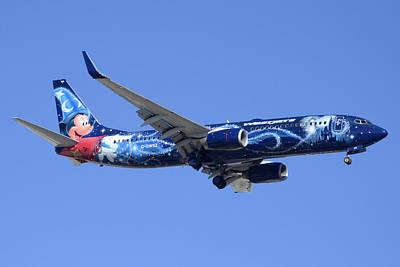Westjet 737-8ct C-gwsz Magic Plane Phoenix Sky Harbor February 8 2015 Art Print by Brian Lockett