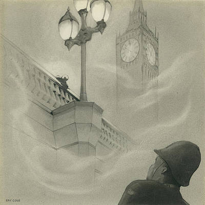 Big Ben Drawing - Westminister Bridge by Ray Cole