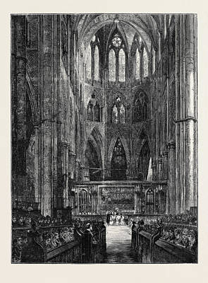 Westminster Abbey Drawing - Westminster Abbey, London, 1870 by English School