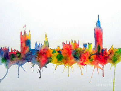 Painting - Westminster And Big Ben Skyline by Bill Holkham