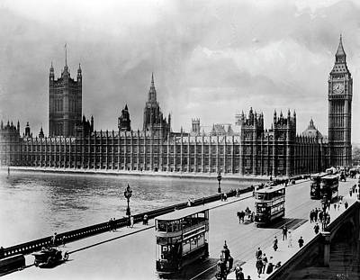 Westminster Bridge And Parliament Art Print by Library Of Congress