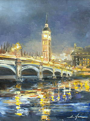 Night Lamp Painting - Westminster Bridge by Luke Karcz