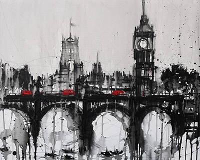 London Skyline Painting - Westminster Haze 2 by Irina Rumyantseva