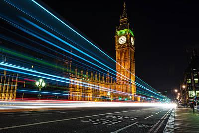 Westminster Light Trails Art Print by Matt Malloy