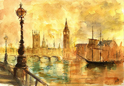 Big Ben Wall Art - Painting - Westminster Palace London Thames by Juan  Bosco