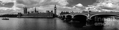 Photograph - Westminster Pano Bw by Matt Malloy