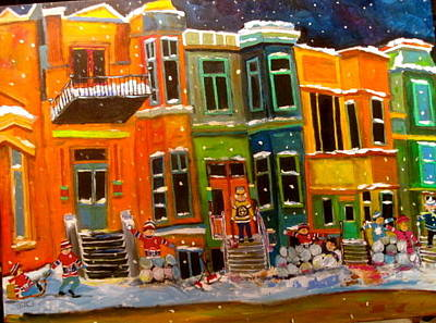 Snowball Fort Painting - Westmount Row Houses Montreal Memories by Michael Litvack
