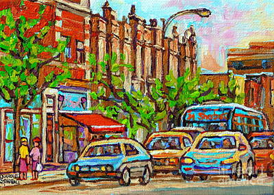 Westmount Street Scene Paintings - Bilboquet Ice Cream - Sherbrooke Street West - Montreal City Art Art Print by Carole Spandau