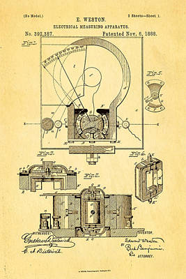 1888 Photograph - Weston Voltmeter Patent Art 1888 by Ian Monk