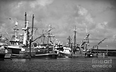 Photograph - Westport Fishing Boats Bw by Chalet Roome-Rigdon