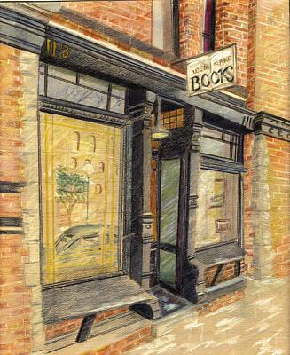 Streetscape Drawing - Westside Bookstore by Candace  Hardy