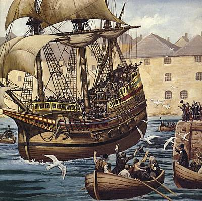 Old Sailing Ship Painting - Westward Ho  The Mayflower Leaves Plymouth by Mike White